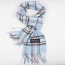 Men Women unisex 100%CASHMERE Baby Blue Scarf tartan stripe Plaid SCOTLAND