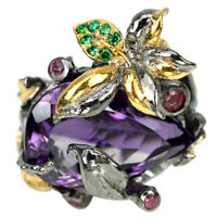 REAL PURPLE AMETHYST, RED RUBY & GREEN CZ STERLING 925 SILVER FLOWER RING SIZE 7