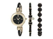 Brand authentic  Anne Klein ak/2766onyx goldtone and leather bracelet watch set