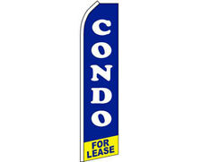 Condo For Lease Blue / White / Yellow Swooper Super Feather Advertising Flag