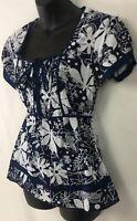 Antilia Femme Womens Blouse Tie Waist Top Shirt Floral Blue White Cotton Size M