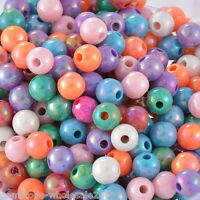 300PCs Hello Acrylic Spacer Beads AB Color Stripe Pattern Round Mixed 8mmDia.