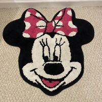 Vintage Minnie Mouse Bath Mat Rug Head Shaped 28 X 27