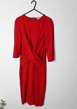 Hobbs red stretch sleeve dress 14 party event valentines