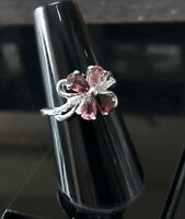 LUXURY NATURAL MULTI TOURMALINE WHITE CZ -STERLING 925 SILVER RING