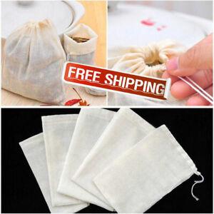10/ 50/100 PCS Reusable Natural Cotton Muslin Drawstring Bags Tea Soap Herbs New