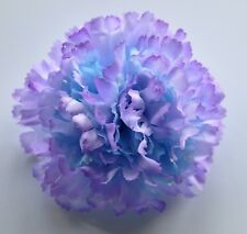 "3.5"" Light Blue & Lavender Violet Purple Carnation Silk Flower Hair Clip Wedding"