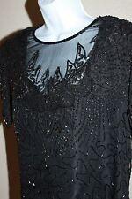 Vtg 1970-80sDenise Elle Silk Black Sequin Beaded Zig Zag Hem Blouse Size Pm