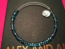 ALEX and ANI Russian SILVER AQUA COLOR SHIMMERING Sea BEAD BANGLE Bracelet