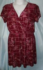Derek Heart Plus Burgundy Red Floral Faux Wrap Short Knit Dress Sz 2X Juniors