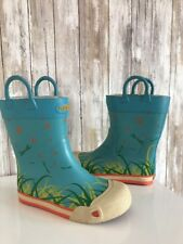KEEN Kids Coronado Rain Boots Youth 3 Rubber Mud Boots Blue Flower DragonFly *