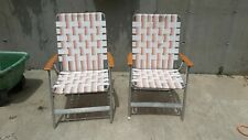 Pair of 2 Vintage Aluminum Folding Lawn Chairs Wood Wooden Arms