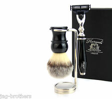 Vintage Luxury Shaving Kit(Synthetic Hair Brush,Gillette Mach 3,Steel Stand)