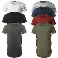 Mens Longline curved hem T-shirt Top Street fashion Long Body Tee Tall Elongated