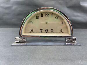 Vintage Art Deco 8 Day Chrome Desk Clock For Parts Or Display