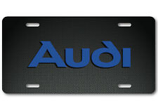 AUDI Aluminum Carbonfiber Metal look Car Auto License Plate Tag Abstract Blue