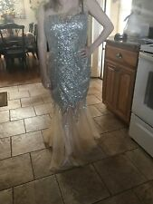 Dave and Johnny long sequin and tulle mermaid style one shoulder size 7/8