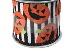 Smiling Jack-o-Lanterns on Stripes Halloween Wired Ribbon: 2.5 inch x 12 feet
