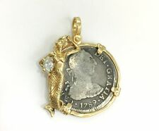 1789 Spanish 2 Reale Coin Diamond Mermaid Pendant for Necklace 14k Yellow Gol...