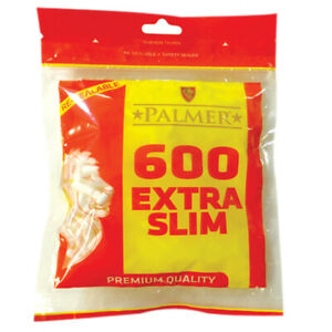 1 x 600 PALMER  EXTRA SLIM Cigarette Filter Tips 600 TIPS Resealable Large Bag