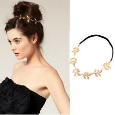 Fashion Metal Rhinestone Gold Leaves Head Chain Headband Head Piece Hair band