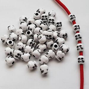 15/30/50 Skull Beads Acryl Großlochperle Bartperle Bead Totenkopf Schädel 💀