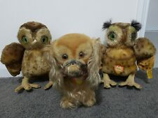 Antique Vintage Steiff Teddy Bear Dog And Owls With Button And Tags
