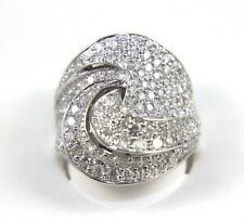 Fine Round Curve Spiral Diamond Cluster Fashion Ring Band 18k White Gold 3.98Ct