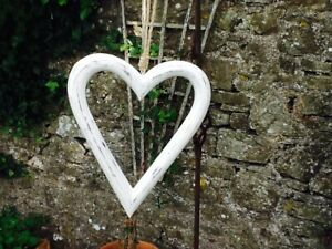 GORGEOUS MEDIUM CARVED ANTIQUE WASH WHITE WOODEN OPEN HANGING HEART