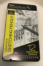 Mead Academie Graphite Sketching Pencils Set Of 12 Made In Uk