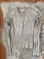 Joie Gray Marle Cashmere Wool Blend Cable knit Sleeve Zipper Sweater Sz S RARE