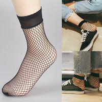 Sexy Lady Women Soft Black Lace Ruffle Fishnet Mesh Short Ankle Socks Stockings