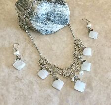 New Arrival! Peruvian Opal filigree Alpaca Silver  Necklace And Earrings set