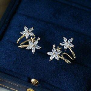 Fashion Flower 14K Yellow Glod Star Stud Earrings Women White Sapphire Jewelry