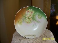 Peach & Green Rose Elegant Antique Porcelain China Footed Scalloped Edge Bowl
