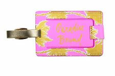LILLY PULITZER METALLIC PALMS Luggage Tag Travel Bag ID Gold Logo & Accents NEW