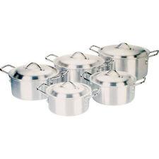 10PC ALUMINIUM CASSEROLE STOCK SAUCEPAN POT SET LID COOKWARE KITCHEN COOKING PAN