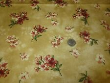 "2046 2PC Waverly FONTANELLE Ant. Gold FLORAL Cotton DRAPERY Fabric-55"" x 8 Yds."