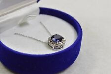 "10k White Gold Created Sapphire 18"" Necklace BB24-S-"