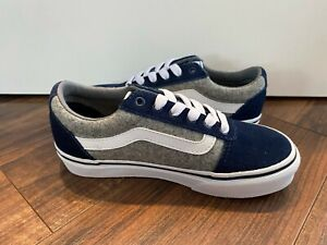 Vans New YT Ward Winter Felt Dress Blues-White Sneaker Youth Boy's Size 13