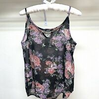 Blush Womens Size M Floral Printed Summer Strap Tank Top Sheer Polyester Shirt