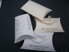 10 PERSONALISED WEDDING PILLOW BOX FAVOURS, UNFILLED ANY COLOUR RIBBON AND CARD