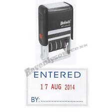 One { ENTERED } Deskmate Self-Inking Date Stamp Free Ship & Tracking