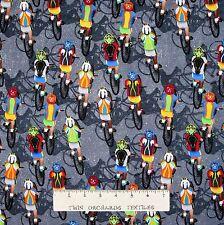 Sports Fabric - Cycling Cylist Bicycle Marathon Gray - Timeless Treasures YARD