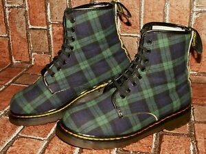 vintage made in England Dr. Martens TARTAN boots DOUBLE STITCHED uk 7 Doc#253