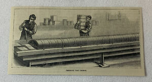 1880 magazine engraving ~ CHEESE MAKING - PRESSING THE CHEESEA