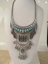 Lucky Brand Silver Tone Stone and Feather Multi Level Statement Necklace $99 NEW
