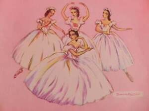 Genuine Vintage Brownie Downing Ballerina Print, Young Ballerinas Colour Picture