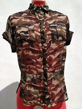 SUPERDRY SD ARMY Womens Sheer Camo Shirt Brown/Black ButtonUp Short Sleeve Top.S