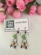 Silvertone Goofy Mickeys Dog Friend Green Hat Dangle Earrings